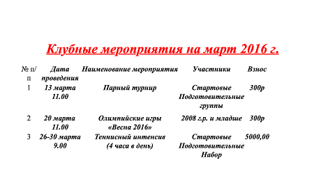мероприятия на март 2016 года