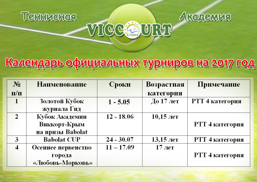 календарь официальных турниров