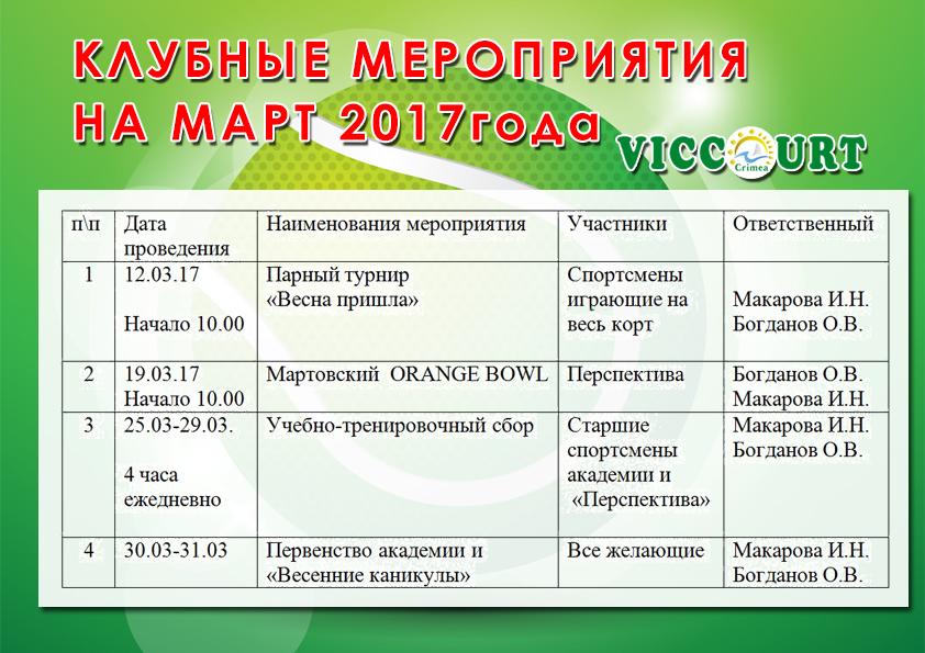 клубные март