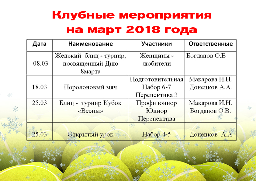клубные март 2018
